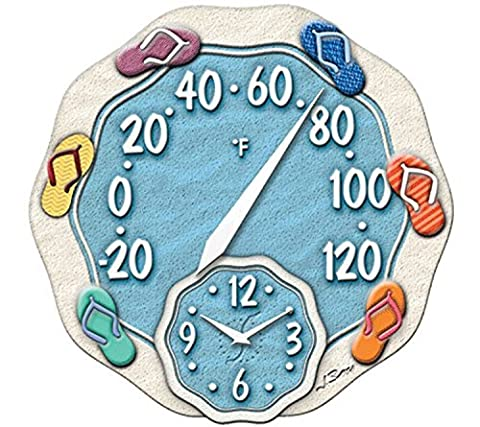 Springfield 12 Sandals Poly Resin Thermometer with Clock by Taylor Precision Products
