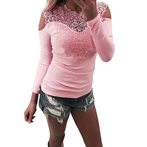 Bekleidung Longra Longra Damenmode Sexy Blusen Elegante Blusen Festliche blusen Damen Langarm Shirt Schulterfrei Oberteile Spitzenbluse tunika Tops Slim Fit blusenshirt T-Shirt (Pink, XL) (Belted Cotton Bluse)