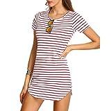 Sunday Damen Hemdkleid T-Shirt Blusekleid T-Shirtkleid Sommerkleid Kleider Frauen Rundhals Kurzarm Mode Kleid Minikleid Kleidung (Rosa, S)