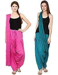 Fashion Store Women Solid Cotton Patiala Salwar(Free Size,Dark Blue & Pink)