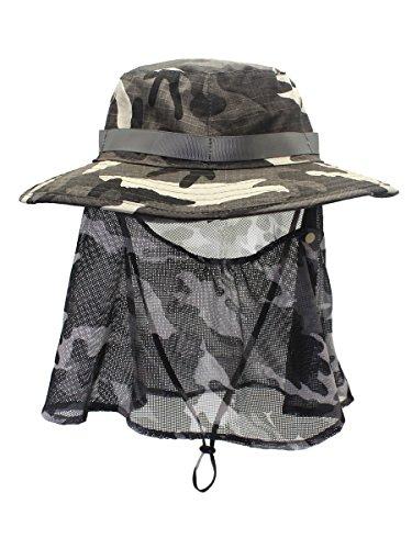 Camouflage Mesh-hut (Camouflage Fischerhut Bucket Hut Sonnenhut Sonnenschutz mit Halstuch Große Krempe Anti UV Anti Stechmücke - Dunkelgrau)