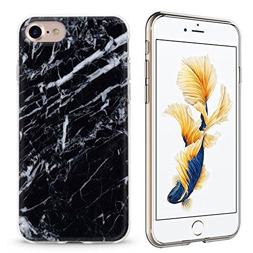 Schutzhülle für iPhone 7 Marmor Stein Marble - Hard case cover (Marmorgoldschwarz) Marmorschwarz