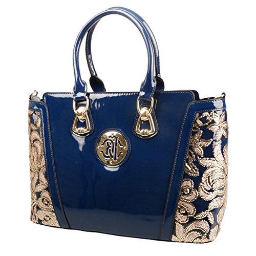 KAXIDY Lackleder Stickerei Spitze Handtasche Schultertaschen Messengerbags Schulter Handtasche Tasche Damentasche (Schwarz) Blau