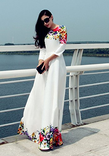 Cravog Sommerkleid damen lang Bohemian Maxikleid Chiffonkleid Partykleid Elegant Weiß