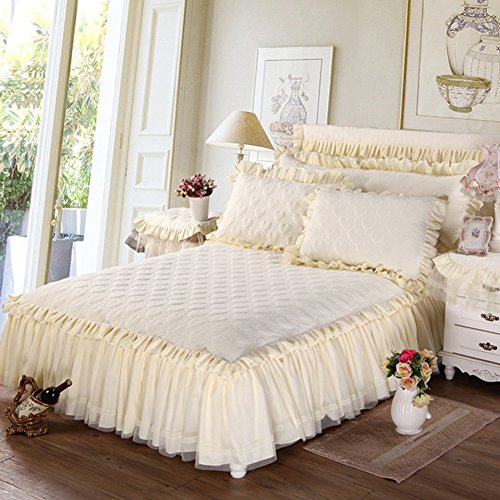 Tour de lit épaissir Coton Couvre-lit Version Cœur Dentelle Ensembles de lit matelassé Taille 200 x 220 cm (200,7 x 221 cm) (Beige)