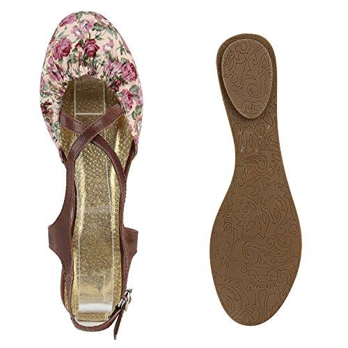 Damen Sandalen T-Strap | Flats Blumen Schnallen | Glitzer Riemchensandalen | Sommerschuhe Lila Rot Blumen