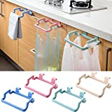 #1: HOME CUBE® 2 Pc Towel Rack Hanging Holder cum Garbage & Grocery Bag Organizer For Kitchen Bathroom Cabinet Cupboard Hanger.