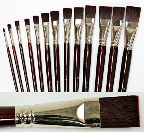 Meister SPIN 13er Pinselset gerade/flach, Größen 0 – 24, Profi- Pinsel für Acryl und Ölfarben