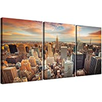 Cheap New York Skyline lienzo Art–3Panel de pared para su sala de estar en lienzo–Trendy American–3202–Wallfillers®
