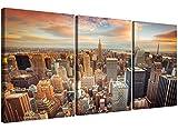 Wallfillers, 3202, stampa su tela da parete, con immagine dello skyline di New York, in 3 pannelli, per salotto, alla moda, stampa americana
