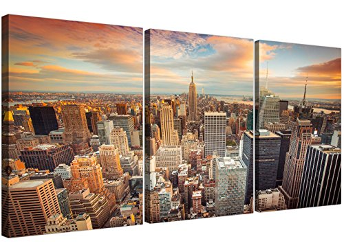 Cheap New York Skyline lienzo Art – 3 Panel de pared para su habitación