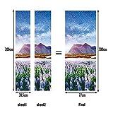 HHYS MT240 Kreativität PVC Materialien Türaufkleber Sternenklarer Himmel Schneeberg Lavendel Landschaft Muster 38,5 * 200Cm * 2 Pcs