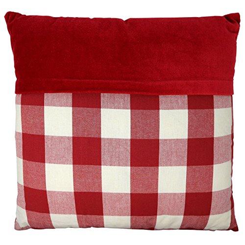 Pignut vintage in velluto, rosso a quadretti, cotone, 45x 45x 13cm