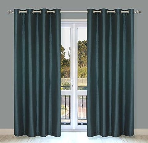 Silkana Faux Silk Readymade 2-Piece Eyelet/Ring Top Curtain Pair, 142x224cm, Blue Grey