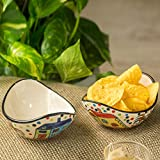 ExclusiveLane 'The Hut Curved Serving' Hand-Painted Ceramic Bowls (Set Of 2) - Salad Bowl Ceramic Snacks Serving Bowl Decorative For Dining Table Rice Maggi Bowl Set For Kitchen Dinner Bowls
