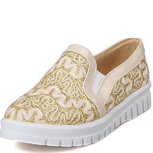 AllhqFashion Damen Niedriger Absatz Blend-Materialien Rein Rund Schließen Zehe Pumps Schuhe Golden