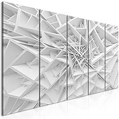 Idea Regalo - murando Quadro Acustico 3D Effetto 225x90 cm Protezione dai rumori Isolamento Acustico 5 Pezzi Quadri murali XXL Fonoassorbente Grigio Bianco a-B-0039-b-m