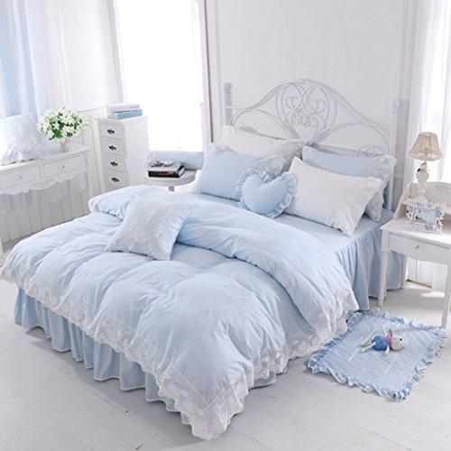 Baumwolle König Bettlaken Set Blau Spitze Bettdecke Sets Mit Bettwäsche Kissenbezüge Für 2 M Bettwäsche