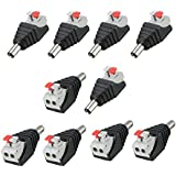 SINNRY 10 Pcs Male DC Power Jack Plug To Spring Terminal Quick Connector For CCTV Camera 5.5 X 2.1mm