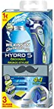 Wilkinson Sword Hydro 5 Groomer Rasierer mit 3 Klingen und Trimmer inkl. Batterie, Movember Edition