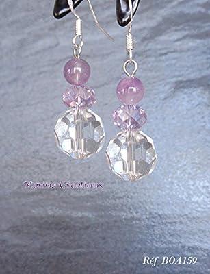 Boucles d'oreille crochets acier inoxydable améthyste, perles facettes transparentes et lilas parme