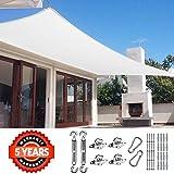Quictent 185G HDPE Rechteckiger Sonnensegel Überdachung UV Block Top Outdoor Abdeckung Terrasse Garten 26 x 20 ft weiß