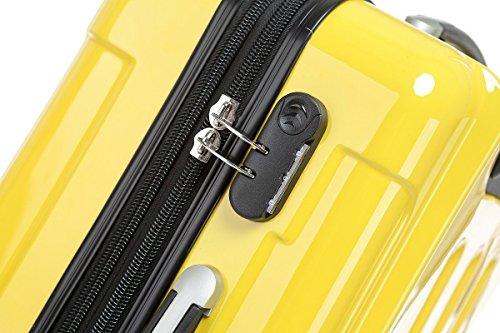 Prime BEIBYE 3 tlg. Reisekofferset Kofferset Trolley Trolleys Koffer Zwillingsrollen Hartschale Gelb