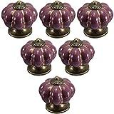 6 PCS Multicolor Süßigkeiten Farbe Kinder Möbel Schublade Griffe Küche Schrank Ziehgriff, Vintage Keramik Kürbis knöpfe Möbelknöpfe von Creatwls. - Lila