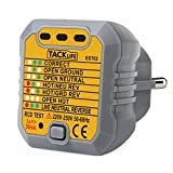 Tacklife EST02 Avanzado comprobador de enchufes, testeador del cableado eléctrico GFCI, probador del zócalo de corriente para circuitos eléctricos met