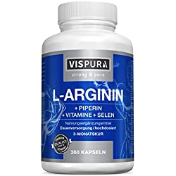L-arginine capsules, HIGHLY CONCENTRATED, 360 tablets with formula VITAL B6, B12, folic acid, selenium and piperine for 3 months, premium German quality and free return for 30 days