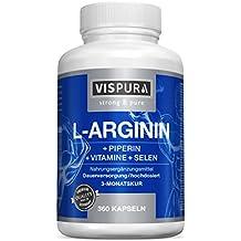 Cápsulas de L-arginina, ALTAMENTE CONCENTRADA, 360 comprimidos con fórmula VITAL B6, B12, ácido fólico, selenio y piperina para 3 meses, calidad alemana premium y devolución gratuita durante 30 días