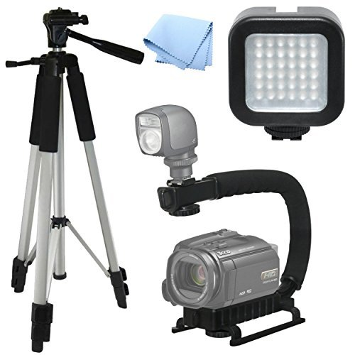 Advanced Professional ACTION Kit: Pro Tripod + Pro Stabilizing Grip + LED Video Light For Canon XA30 Video Light Tri-pod...