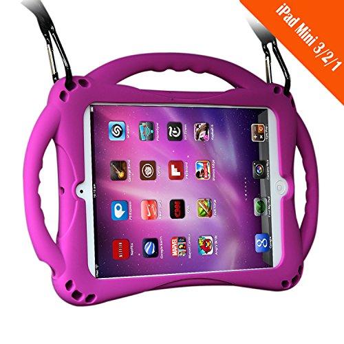 [Neues Design] TopEsct iPad Mini Case Kinder Anti-Shock Stoßfest Griff Ständer Schutzhülle für iPad Mini, Mini 2, Mini 3 und iPad Mini Retina Modelle (Lila)