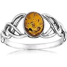 Noda anillo de plata con ámbar Óvalo Nudos Celtas