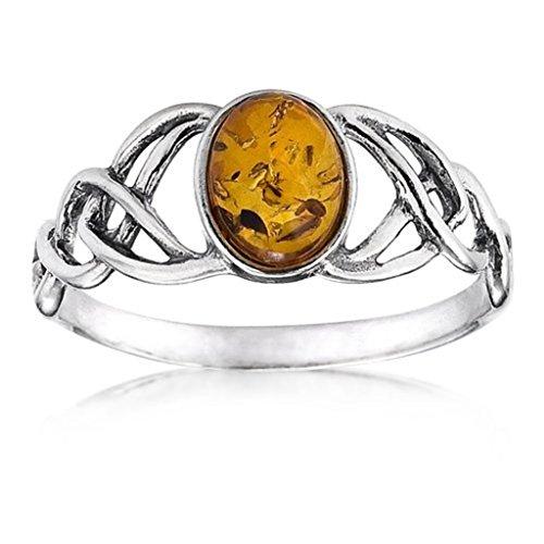 Noda anillo de plata con ámbar Óvalo Nudos...