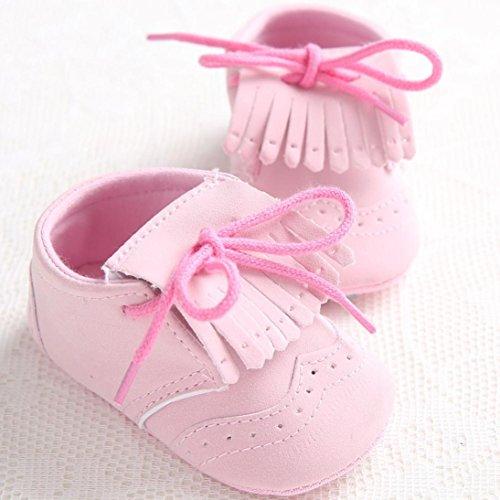 Hunpta Babymädchen oder junge Schnürung Leder Schuh rutschfest weiche Sohle Kleinkind (Alter: 12 ~ 18 Monate, Schwarz) Rosa