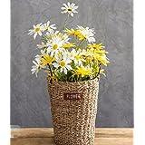 XPHOPOQ flores artificiales idílico Flor Cestas elegante Decoración balcón Amarillo Daisy-Chained