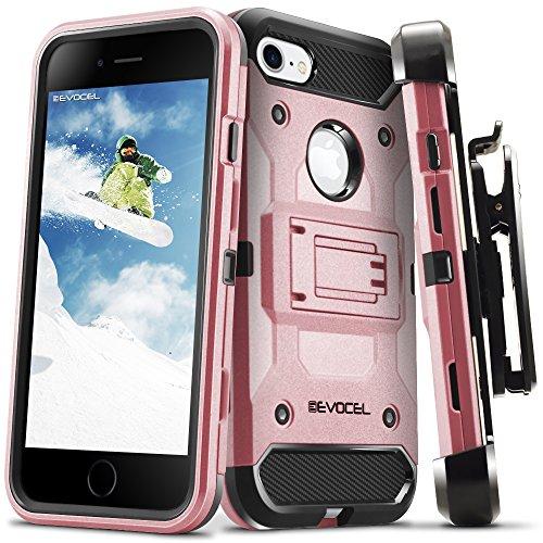 iPhone 7 Case, Evocel [Trio Pro Series] Premium Hybrid Tri-Layer Protector Case [Kickstand][Belt Swivel Clip] For iPhone 7 (4.7 inch), Gold Medal (EVO-IPH7-HH15) Rose Gold