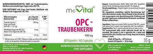 OPC – Traubenkern – 490 mg – mit Vitamin B2 – hochdosiertes Antioxidationsmittel für Ihre Blutgefäße – 60 Kapseln