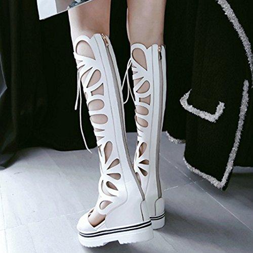 COOLCEPT Damen Mode Schnurung Sandalen Cut Out Sommer Stiefel Peep Toe Keilabsatz Stretch Schuhe Zipper White