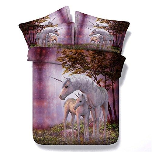 Zhizhen Unicorn Parure de lit Chambre à Coucher Lit 3 pcs/Lot de qualité. Housse de Couette Taie d'oreiller en Polyester, Licorne, 200x200 for Queen