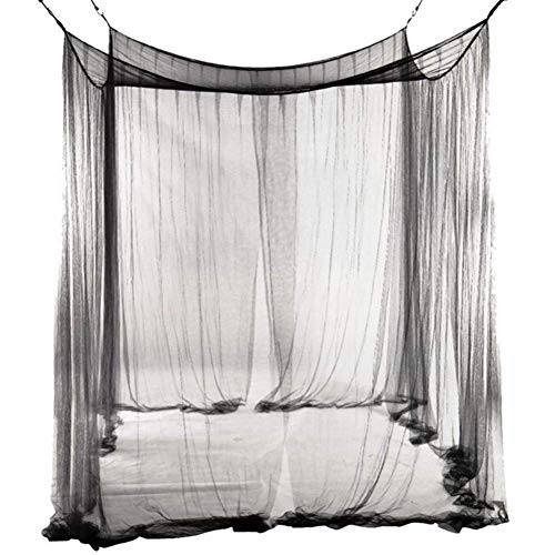 LLVV Übergroße Home praktische Moskitonetze schwarz Vier Eckpfosten Betthimmel Camping Moskitonetz 4 Türen offen für Bettwäsche - Netting-bett Schwarz