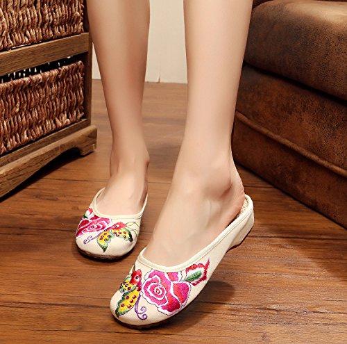 ZQ Gestickte Schuhe, Sehnensohle, ethnischer Stil, weiblicher Flip Flop, Mode, bequeme, lässige Sandalen , green , 38
