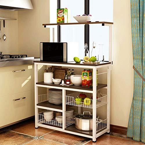 Myj scaffale da cucina tipo pavimento in legno multi-layer rack di stoccaggio a microonde home multi-function simple spice rack (colore : b)