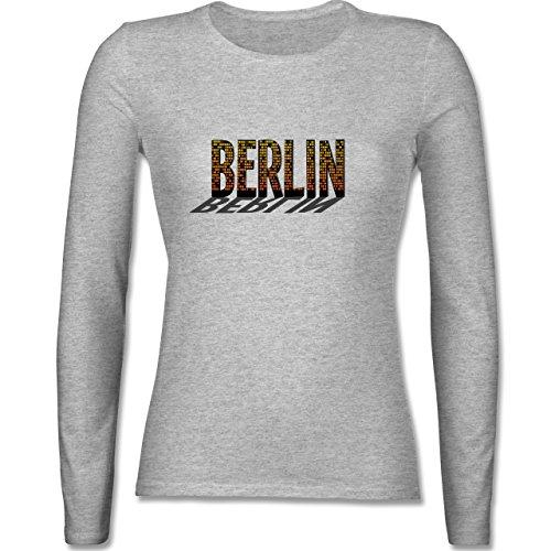Städte Berlin tailliertes Longsleeve / langärmeliges TShirt für Damen Grau  Meliert