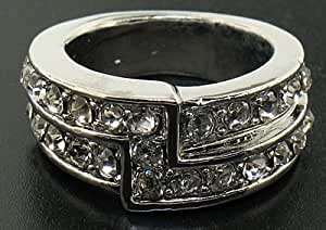 2 Rows in Z White Gold plated ring Size T/10 bling