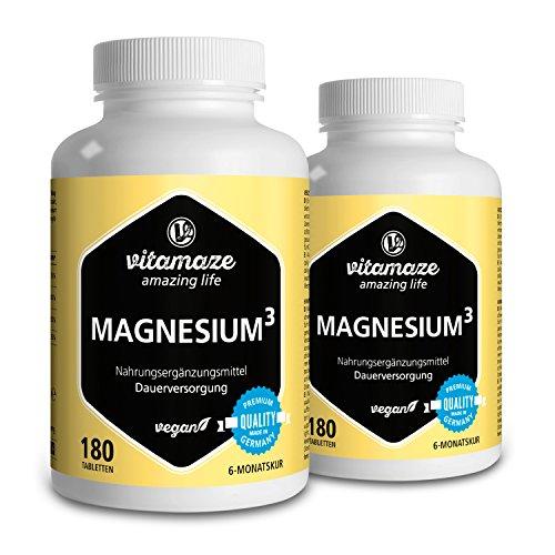 2 Dosen Magnesium³ Komplex 350mg elementares Magnesium 2x180 Tabletten vegan – Magnesium-Citrat + Magnesium-Carbonat + Magnesium-Oxid - Beste Bioverfügbarkeit ohne Magnesiumstearat
