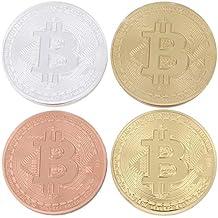 Juego de 2 dorado y bañado en plata Bitcoin redondo coleccionistas moneda conmemorativa