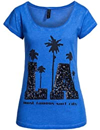 Fresh Made Women's Blue Sequin Motif T-Shirt 100% Cotton