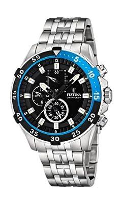 Festina F16603/3 - Reloj de pulsera con cronógrafo para hombre (mecanismo de cuarzo, esfera negra y correa de acero inoxidable plateado) de Festina